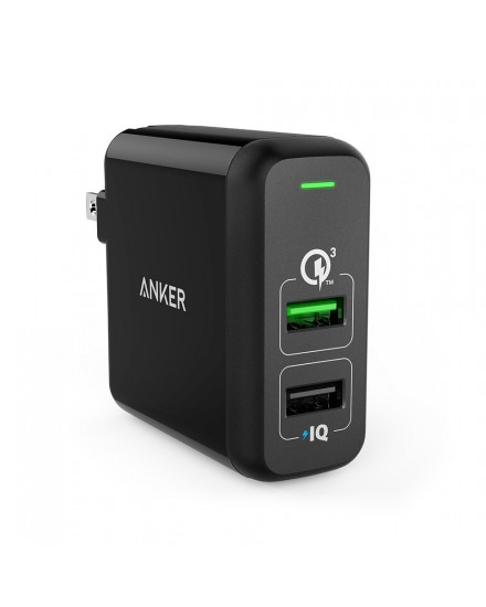 Anker Wall Charger PowerPort 2 Quick Charge 3.0 Black A2024111
