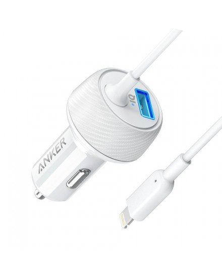 Anker PowerDrive 2 Elite Car Charger iPhone X Lightning White A2214H21