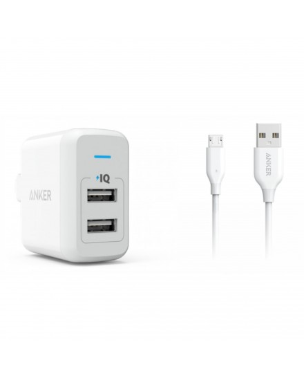 Anker PowerPort 2 24W Foldable + 3ft Micro USB - White B2141J24