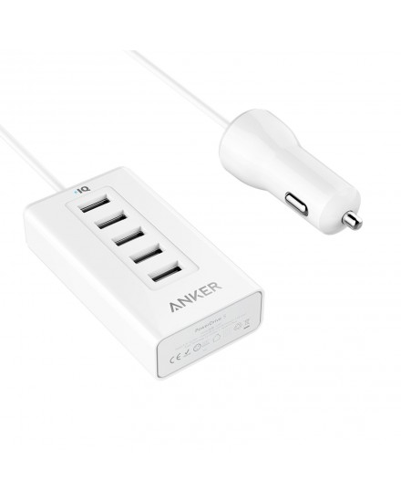 Anker PowerDrive 5 Multi Port Car Charger White A2311H22