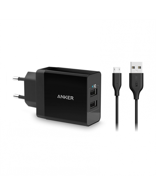 Anker PowerPort 2 Dual Wall Charger + Micro USB 3ft Black B2021L11