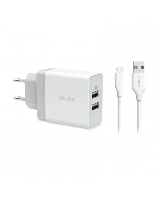 Anker PowerPort 2 Dual Wall Charger + Micro USB 3ft White B2021L21
