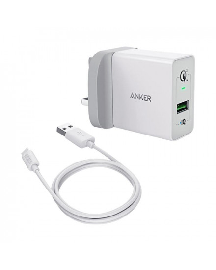Anker PowerPort+ 1 Quick Charge 3.0 + Micro USB 3ft White B2013L21