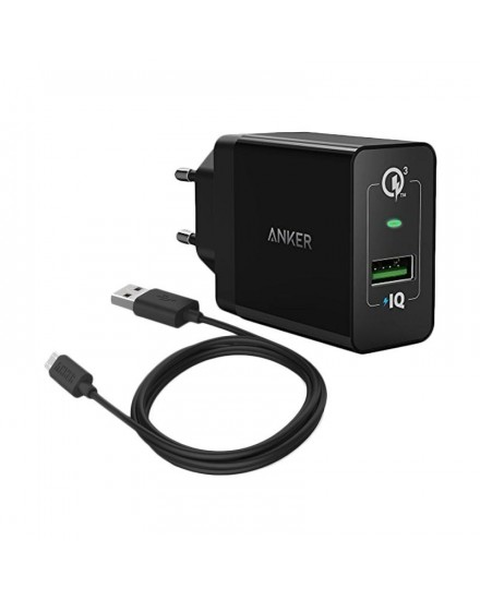 Anker PowerPort+ 1 Quick Charge 3.0 + Micro USB 3ft - Black B2013L11